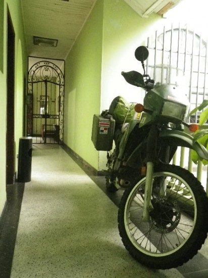 Parking Motorcycle in Hotel Hallway