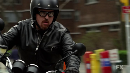 Louis CK on a Triumph Scrambler Motorcycle